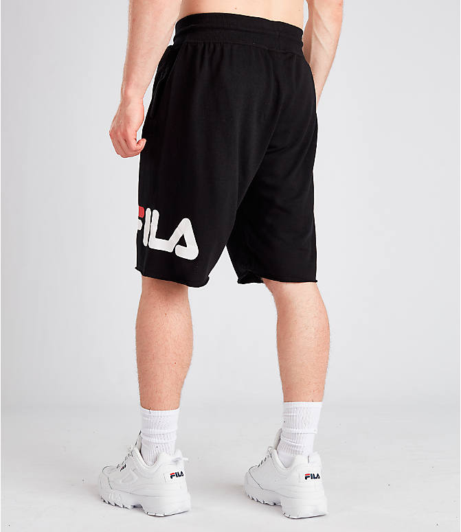 Back Left view of Men's Fila George Shorts in Black