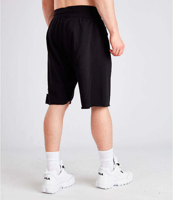 Back Right view of Men's Fila George Shorts in Black