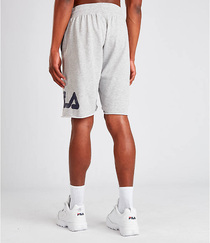 Back Left view of Men's Fila George Shorts in Grey