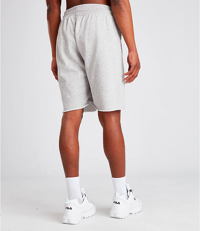 Back Right view of Men's Fila George Shorts in Grey
