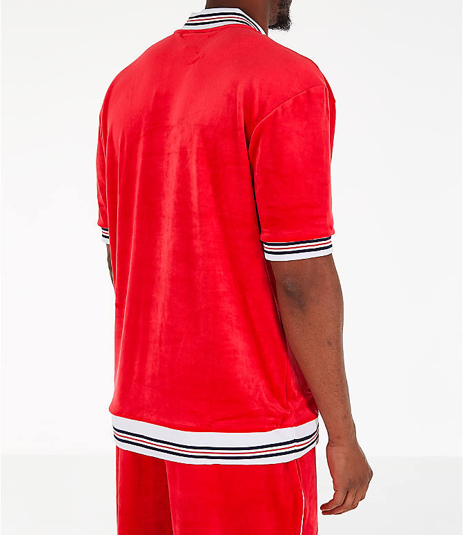 Back Right view of Men's Fila Carezzi Velour Full-Zip T-Shirt Jacket in Red