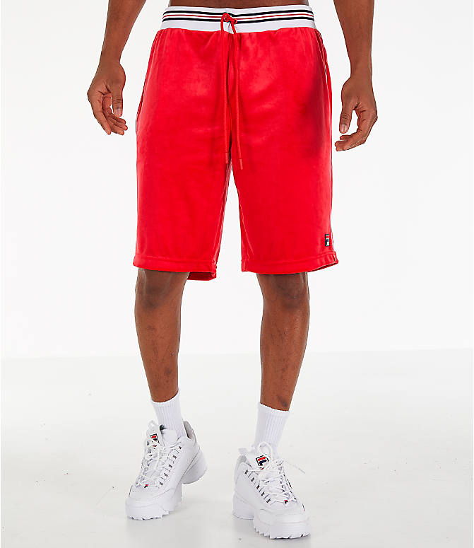 Front Three Quarter view of Men's Fila Cristaudo Velour Shorts in Red