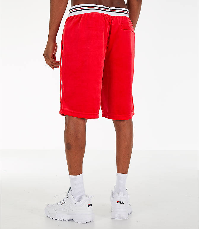 Back Left view of Men's Fila Cristaudo Velour Shorts in Red