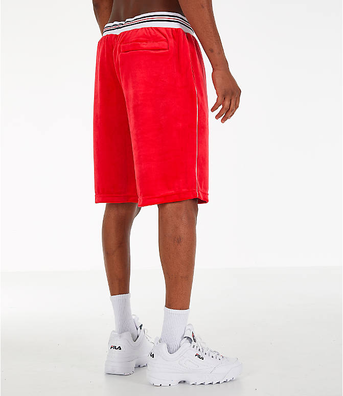 Back Right view of Men's Fila Cristaudo Velour Shorts in Red