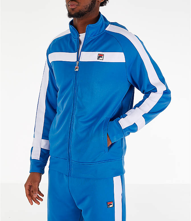Front Three Quarter view of Men's Fila Renzo Track Jacket in Blue