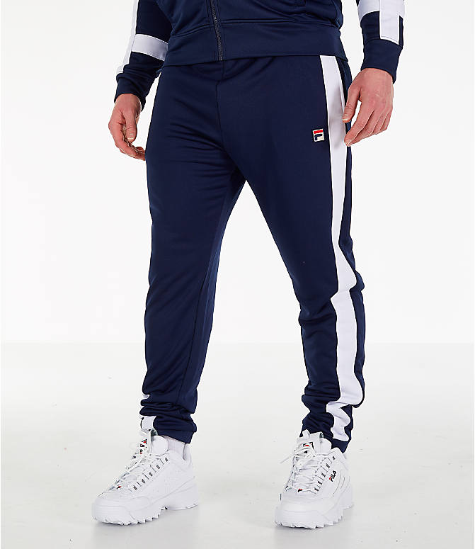 Front view of Men's Fila Renzo Track Pants in Navy