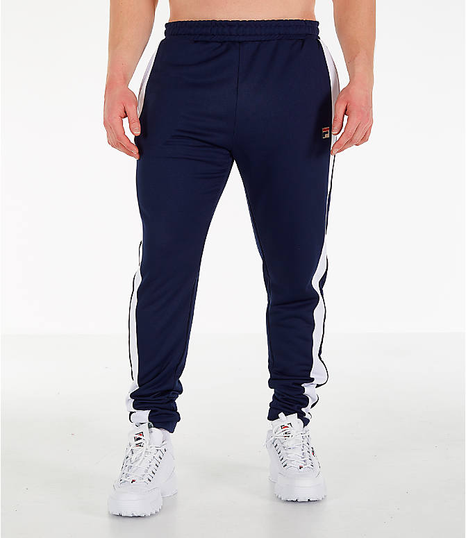 Front Three Quarter view of Men's Fila Renzo Track Pants in Navy