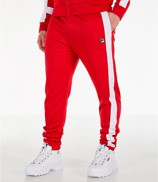 Front view of Men's Fila Renzo Track Pants in Red
