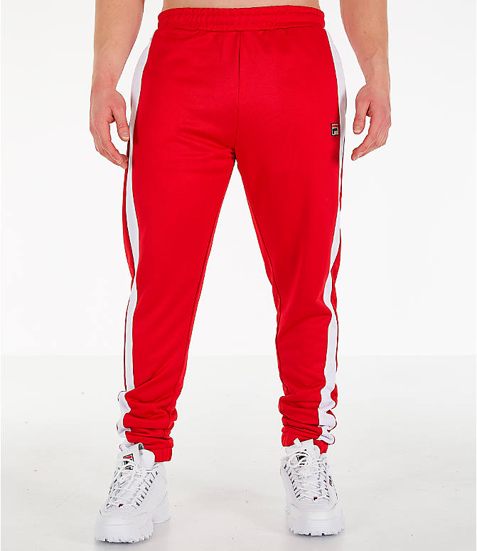 Front Three Quarter view of Men's Fila Renzo Track Pants in Red