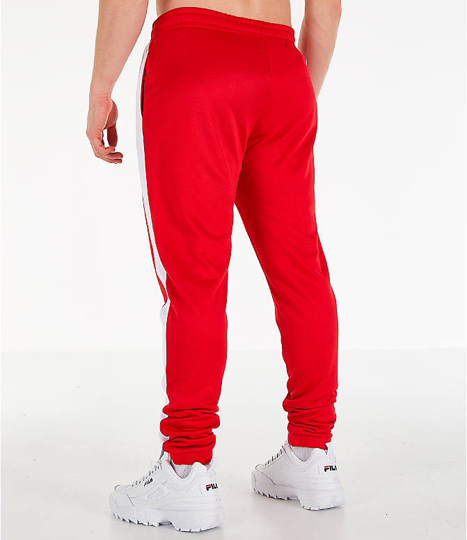 Back Left view of Men's Fila Renzo Track Pants in Red