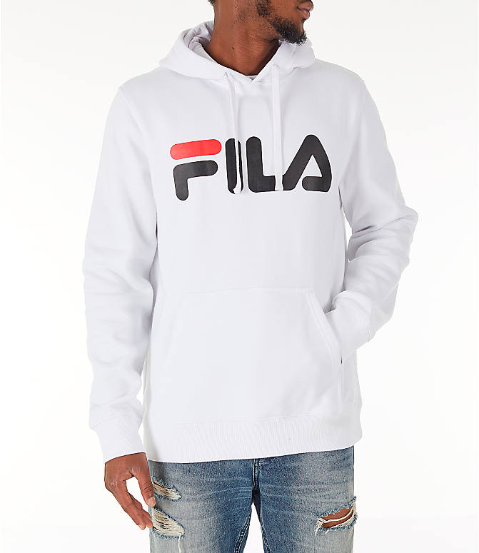 Front view of Men's Fila Fiori Pullover Hoodie in White