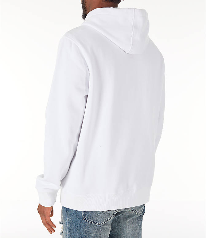 Back Left view of Men's Fila Fiori Pullover Hoodie in White