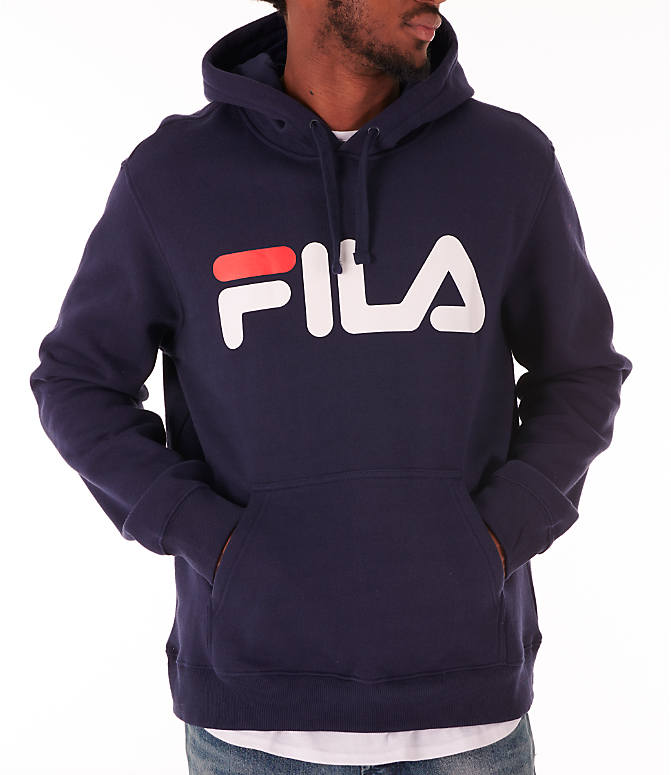 Detail 1 view of Men's Fila Fiori Pullover Hoodie in Navy/White/Red