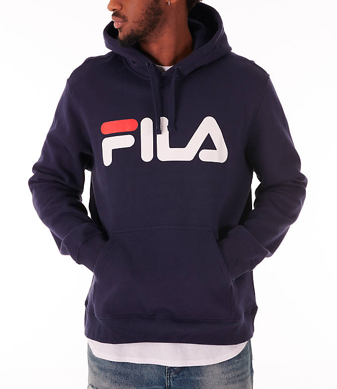 Front view of Men's Fila Fiori Pullover Hoodie in Navy/White/Red