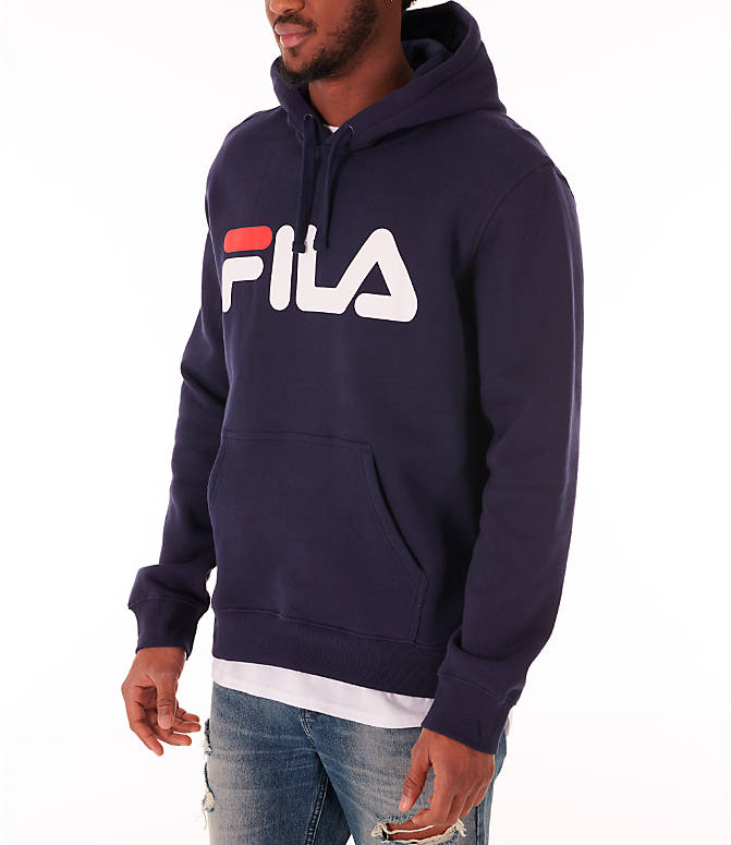 Front Three Quarter view of Men's Fila Fiori Pullover Hoodie in Navy/White/Red