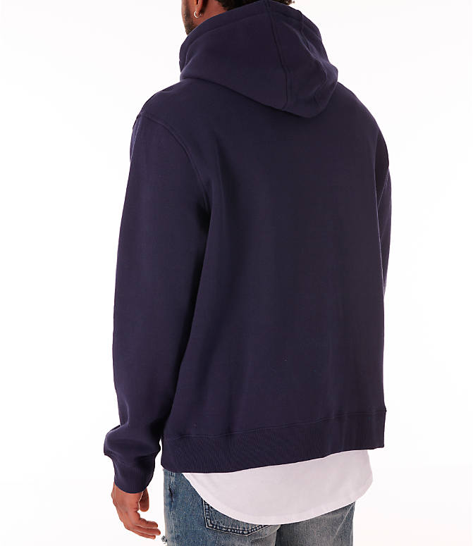 Back Left view of Men's Fila Fiori Pullover Hoodie in Navy/White/Red