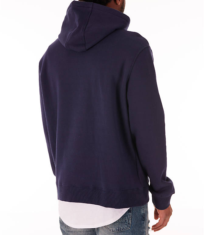 Back Right view of Men's Fila Fiori Pullover Hoodie in Navy/White/Red