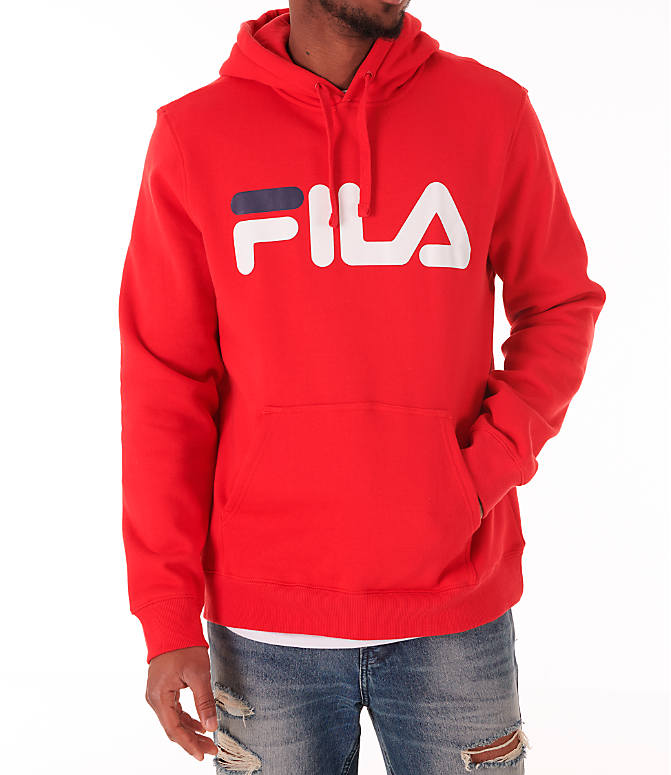 Detail 1 view of Men's Fila Fiori Pullover Hoodie in Red/White/Navy