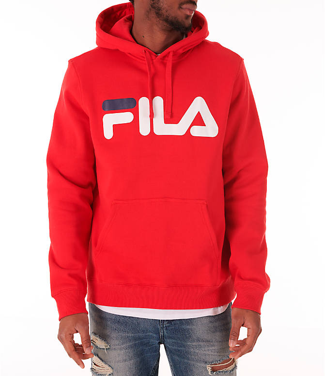 Front view of Men's Fila Fiori Pullover Hoodie in Red/White/Navy