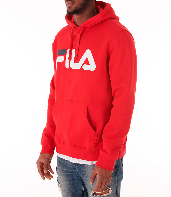 Front Three Quarter view of Men's Fila Fiori Pullover Hoodie in Red/White/Navy
