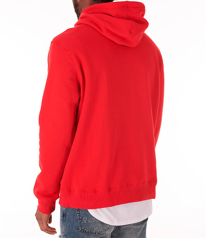 Back Left view of Men's Fila Fiori Pullover Hoodie in Red/White/Navy