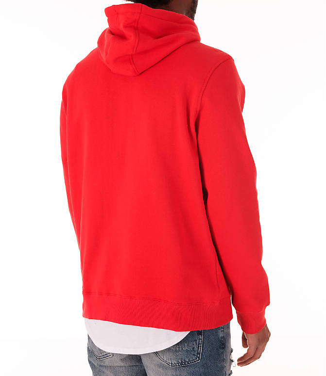 Back Right view of Men's Fila Fiori Pullover Hoodie in Red/White/Navy