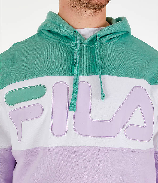 Detail 1 view of Men's FILA Flamino Pullover Hoodie in Green/Purple