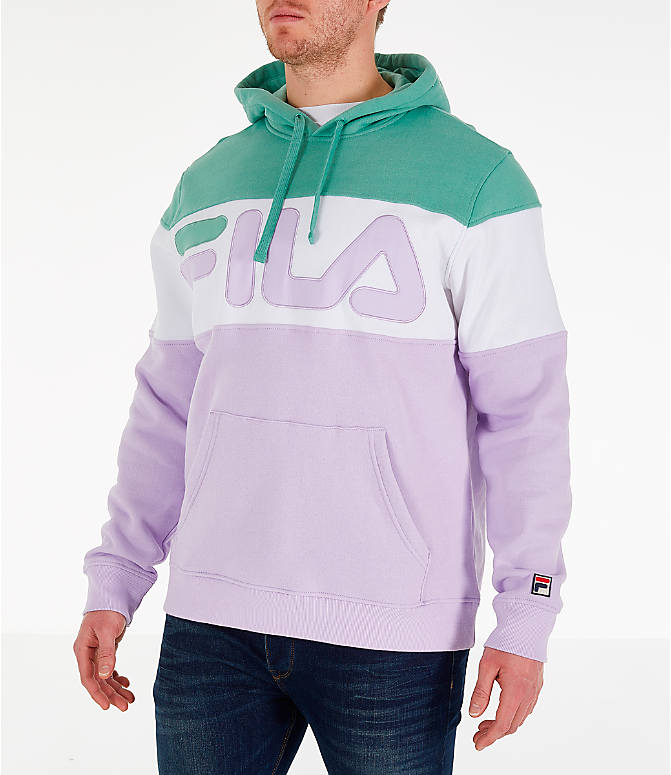 Front Three Quarter view of Men's FILA Flamino Pullover Hoodie in Green/Purple