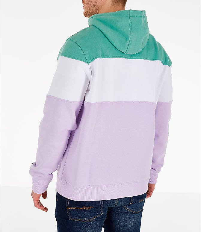 Back Left view of Men's FILA Flamino Pullover Hoodie in Green/Purple