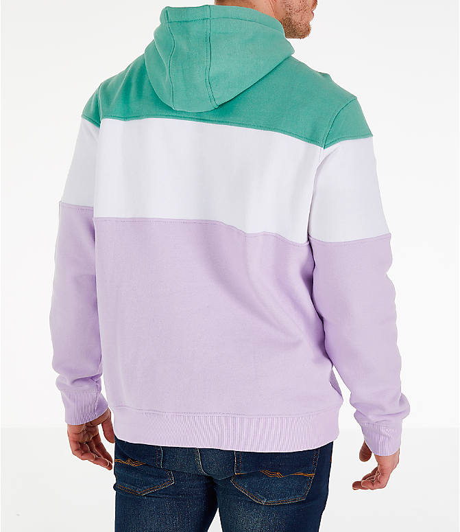 Back Right view of Men's FILA Flamino Pullover Hoodie in Green/Purple