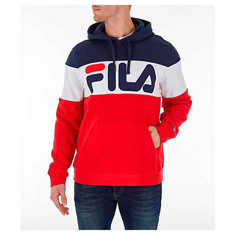 Fila FILA MEN'S FLAMINO PULLOVER HOODIE IN RED SIZE SMALL COTTON/POLYESTER/FLEECE