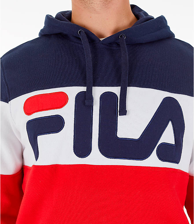 Detail 1 view of Men's FILA Flamino Pullover Hoodie in Red/White/Navy