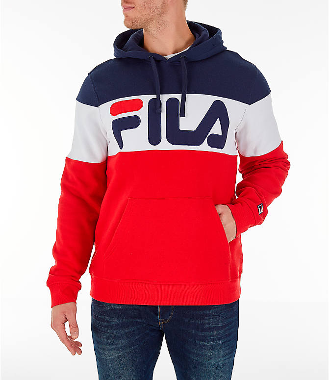 Front view of Men's FILA Flamino Pullover Hoodie in Red/White/Navy