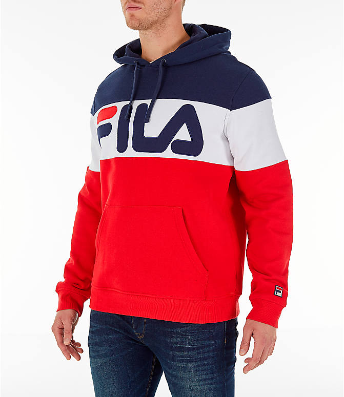 Front Three Quarter view of Men's FILA Flamino Pullover Hoodie in Red/White/Navy