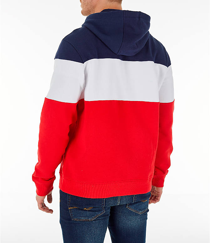 Back Left view of Men's FILA Flamino Pullover Hoodie in Red/White/Navy