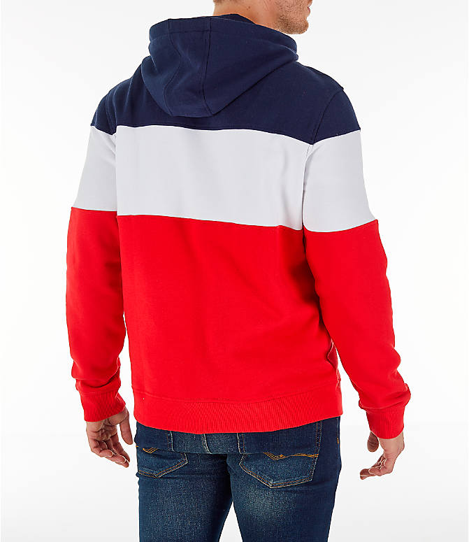 Back Right view of Men's FILA Flamino Pullover Hoodie in Red/White/Navy