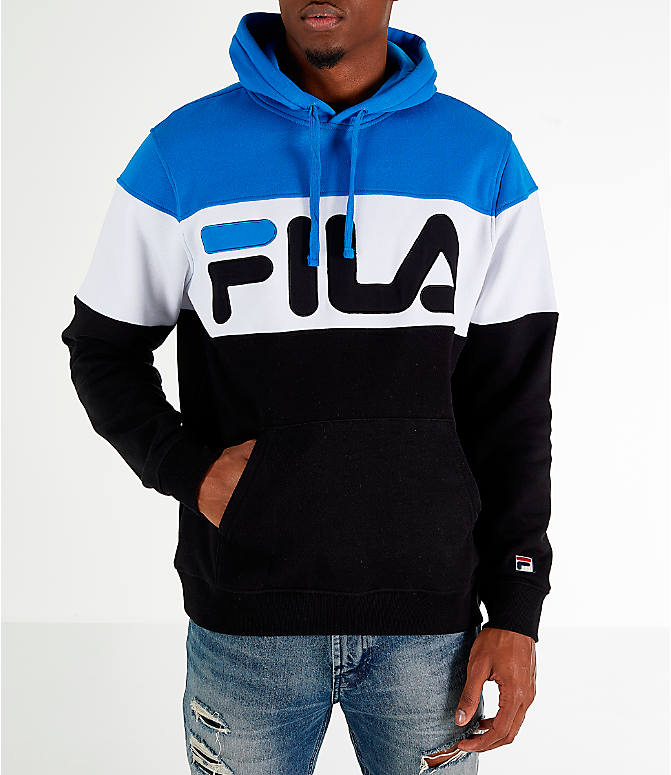 Front view of Men's FILA Flamino Pullover Hoodie in Blue/White/Black