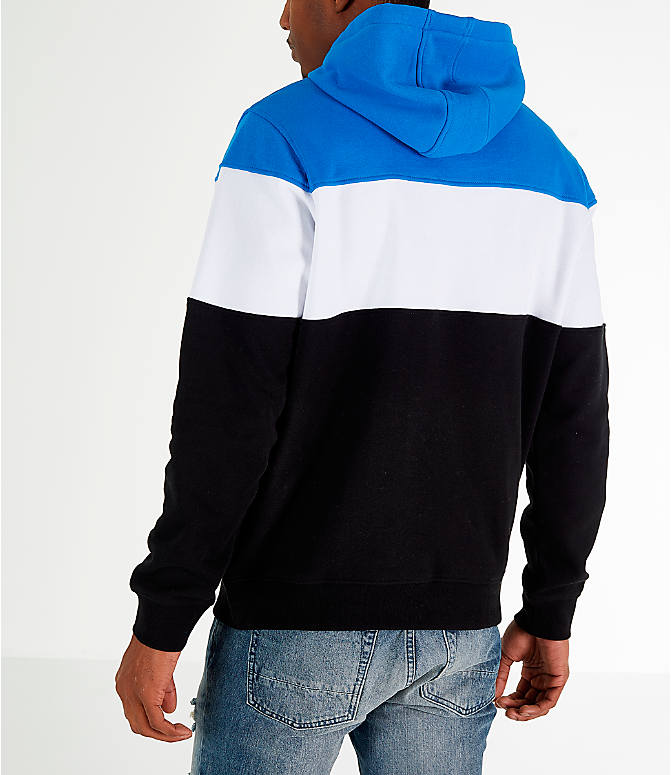 Back Left view of Men's FILA Flamino Pullover Hoodie in Blue/White/Black