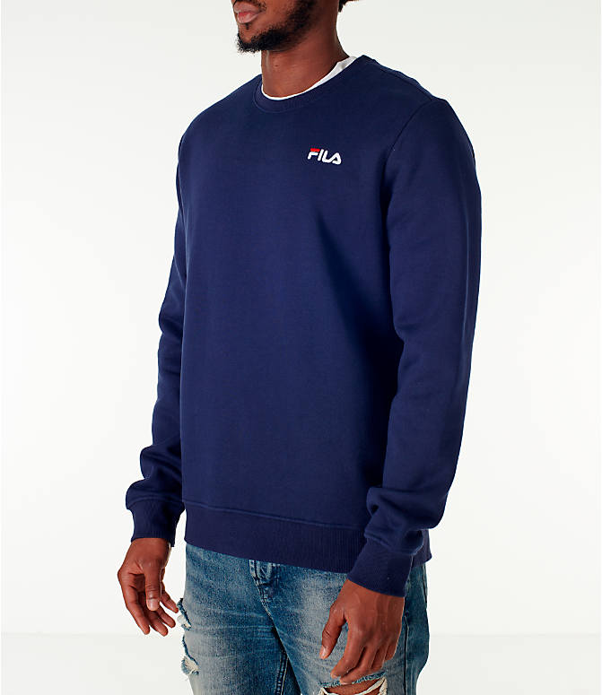 Front Three Quarter view of Men's Fila Colona Crew Sweatshirt in Navy