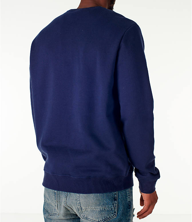 Back Right view of Men's Fila Colona Crew Sweatshirt in Navy