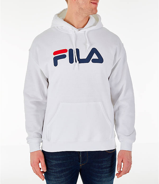 Front view of Men's Fila Hound Hoodie in White/Navy