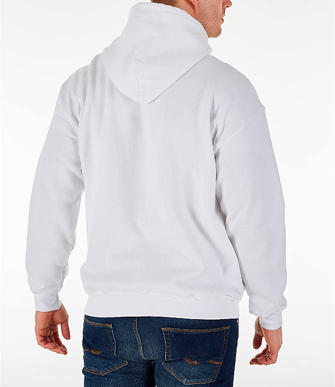 Back Right view of Men's Fila Hound Hoodie in White/Navy