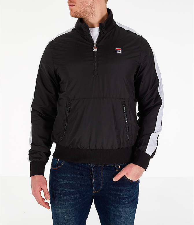 Front view of Men's Fila Hopper Half-Zip Wind Jacket in Black