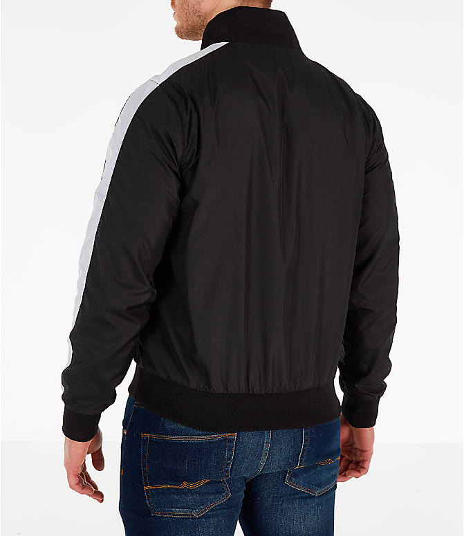 Back Left view of Men's Fila Hopper Half-Zip Wind Jacket in Black