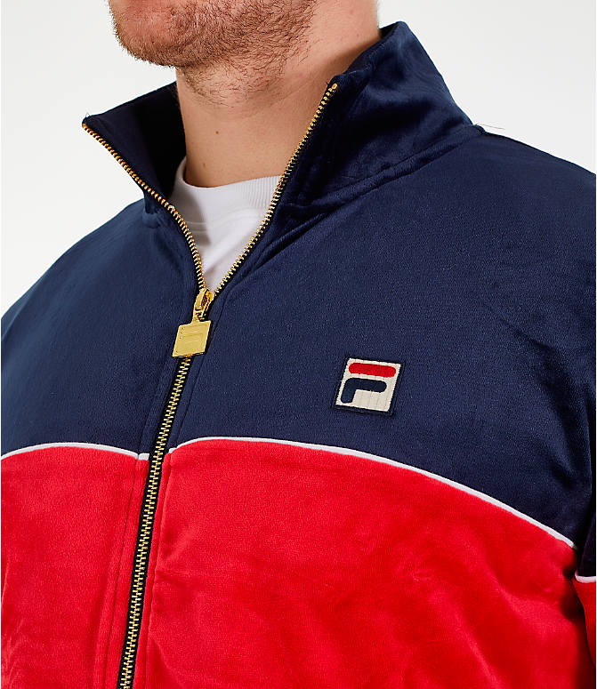 Detail 1 view of Men's Fila Rocco Velour Jacket in Navy/Red