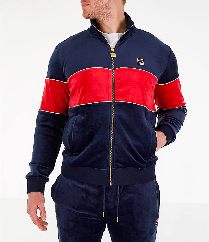 Front view of Men's Fila Rocco Velour Jacket in Navy/Red
