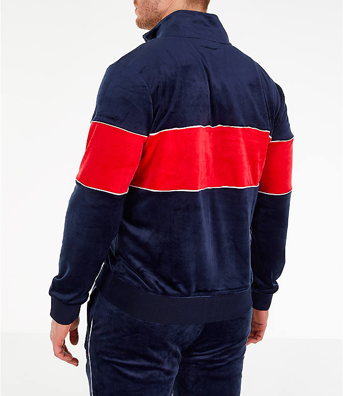 Back Left view of Men's Fila Rocco Velour Jacket in Navy/Red