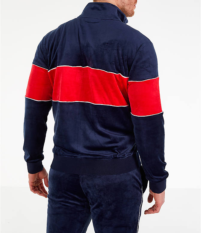 Back Right view of Men's Fila Rocco Velour Jacket in Navy/Red