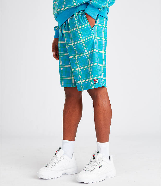Front view of Men's Fila Buzz Shorts in Blue Plaid