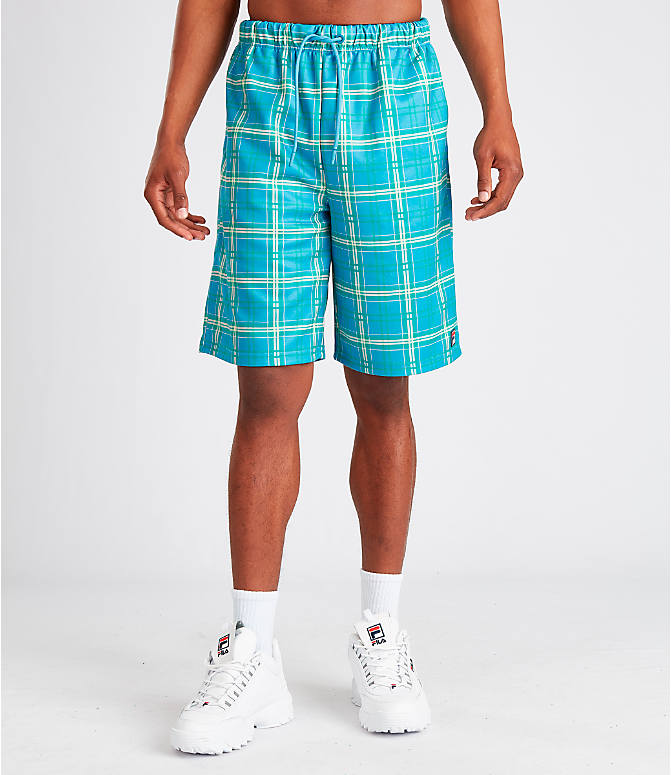 Front Three Quarter view of Men's Fila Buzz Shorts in Blue Plaid